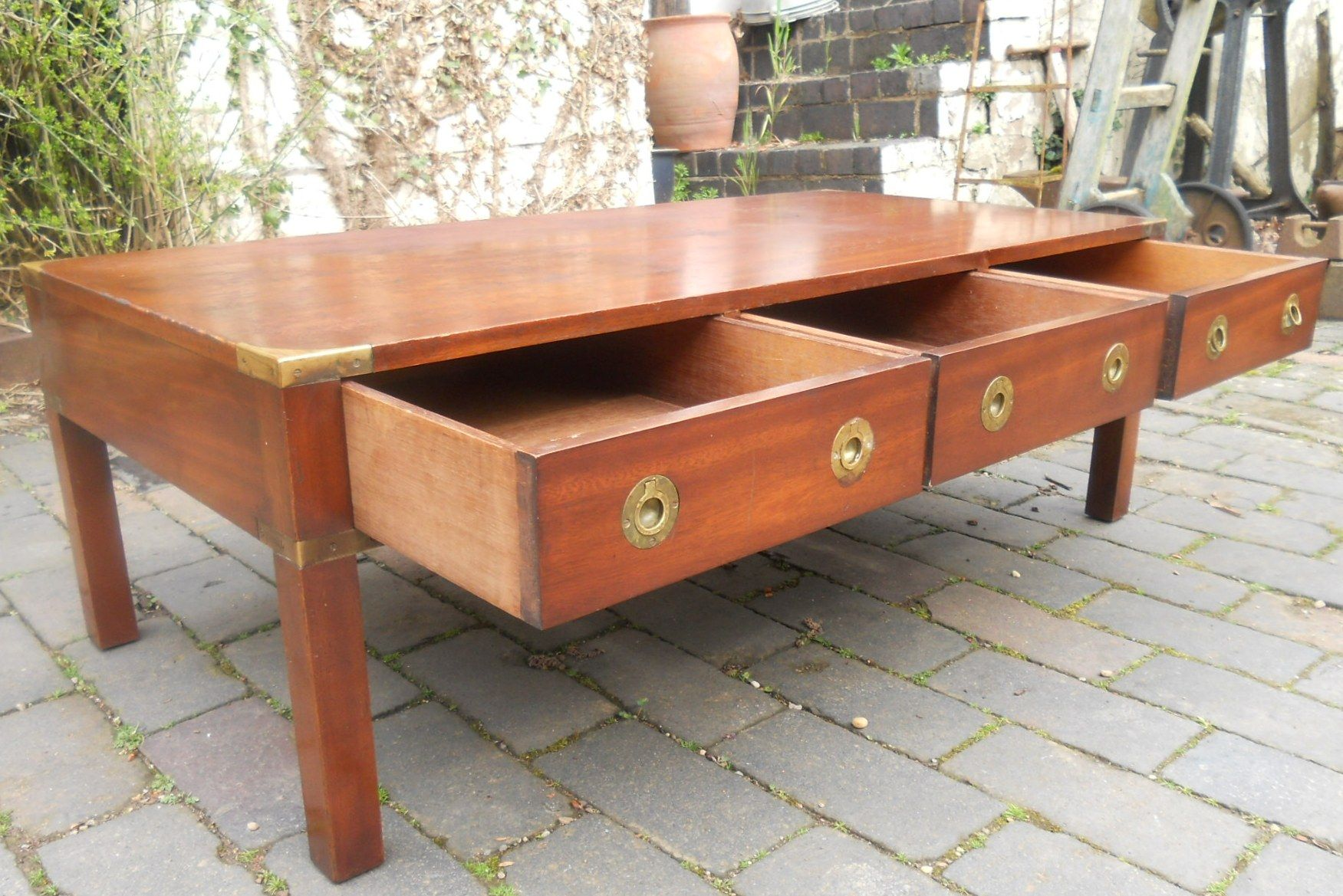 Military Style Mahogany Coffee Table by Bradley